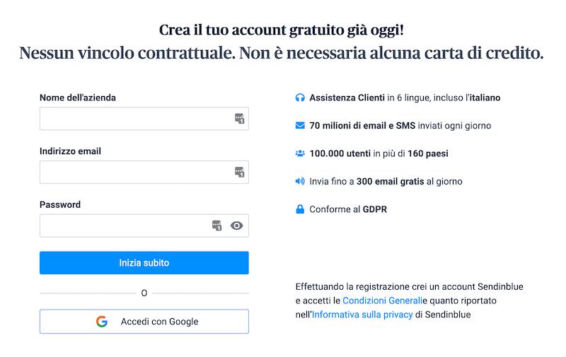 creare un account sendinblue