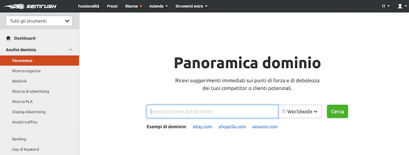 Panoramica dominio semrush