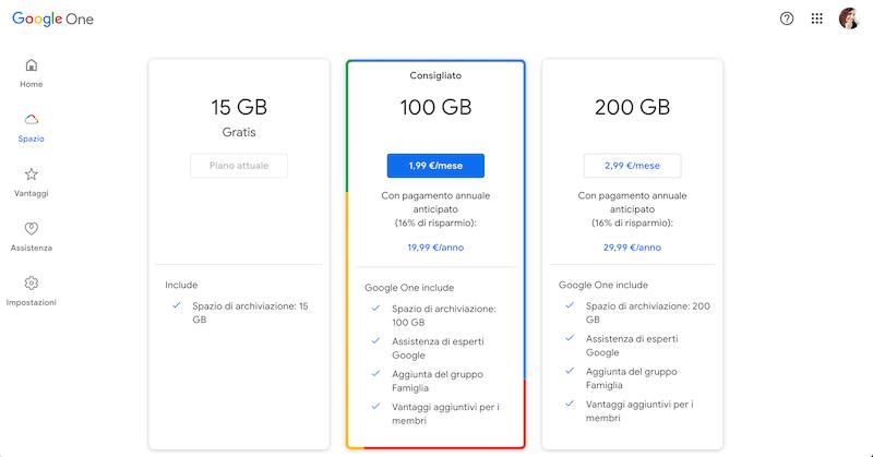 piani archiviazione google drive
