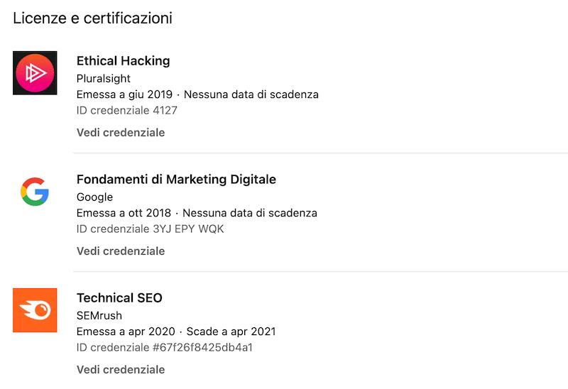 Licenze e certificazioni Linkedin