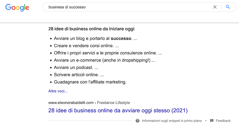 snippet business di successo