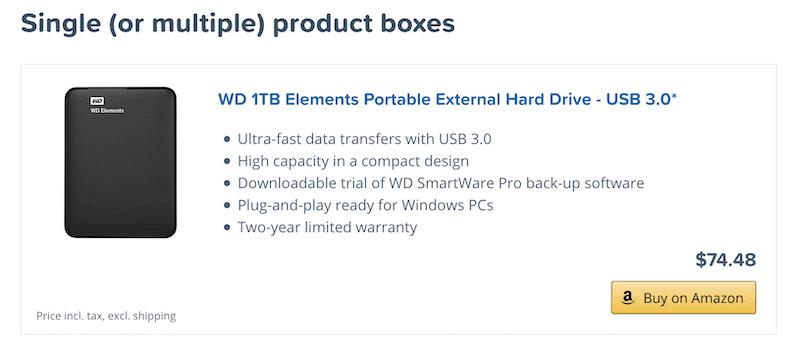 box singolo prodotto aawp