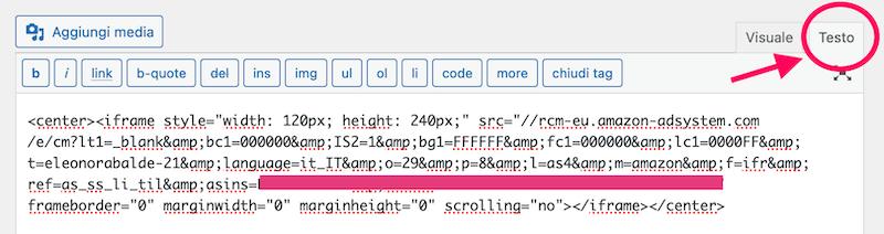 inserire codice Amazon su WordPress